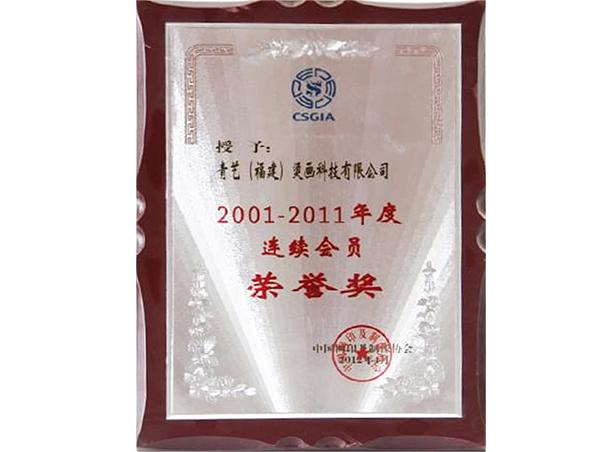 中国网印及制像协会会员荣誉奖